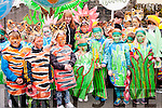 Pupils from Scoil an Chlochain ready for the Parade during Féile na Bealtaine on Sunday.
