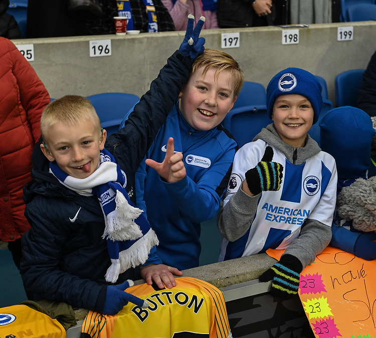 Young Brighton fans <br /> <br /> Photographer David Horton/CameraSport<br /> <br /> Emirates FA Cup Fourth Round - Brighton and Hove Albion v West Bromwich Albion - Saturday 26th January 2019 - The Amex Stadium - Brighton<br />  <br /> World Copyright © 2019 CameraSport. All rights reserved. 43 Linden Ave. Countesthorpe. Leicester. England. LE8 5PG - Tel: +44 (0) 116 277 4147 - admin@camerasport.com - www.camerasport.com