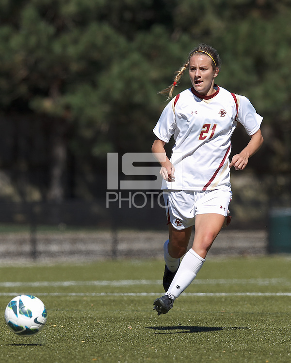 Boston College midfielder Kate McCarthy (21) passes the ball. Virginia Tech (maroon) defeated Boston College (white), 1-0, at Newton Soccer Field, on September 22, 2013.
