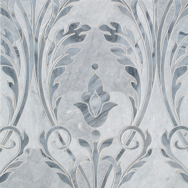 Monaco Floral, a waterjet mosaic shown in honed Bardiglio Light and polished Greystoke, is part of the Liliane™ Collection by Caroline Beaupere for New Ravenna.