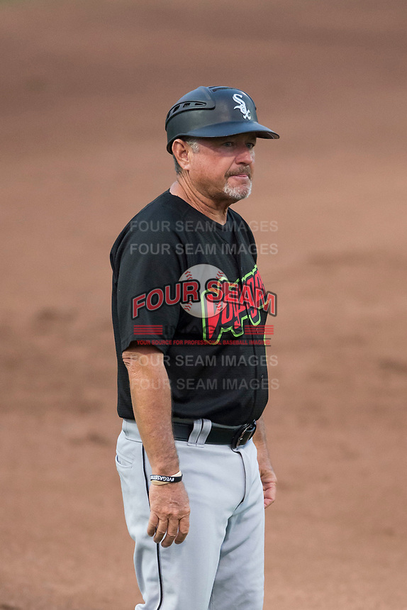 Great Falls Voyagers manager Tim Esmay (10) during a Pioneer League against the Ogden Raptors at Lindquist Field on August 23, 2018 in Ogden, Utah. The Ogden Raptors defeated the Great Falls Voyagers by a score of 8-7. (Zachary Lucy/Four Seam Images)