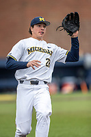 Michigan Wolverines pitcher Keaton Carratini (29) warms up before the NCAA baseball game against the Michigan State Spartans on May 7, 2019 at Ray Fisher Stadium in Ann Arbor, Michigan. Michigan defeated Michigan State 7-0. (Andrew Woolley/Four Seam Images)