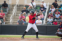 Brandon Dulin (31) of the Kannapolis Intimidators at bat against the Rome Braves at Kannapolis Intimidators Stadium on April 12, 2017 in Kannapolis, North Carolina.  The Braves defeated the Intimidators 4-3.  (Brian Westerholt/Four Seam Images)