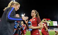 San Jose, CA - Sunday November 12, 2017: Allie Long, Kelley O'Hara during an International friendly match between the Women's National teams of the United States (USA) and Canada (CAN) at Avaya Stadium.