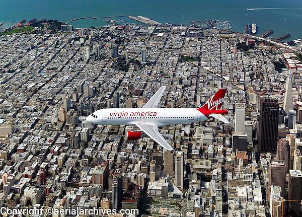 aerial photograph of N628VA, Virgin America Airlines Airbus A320-214 over San Francisco, California