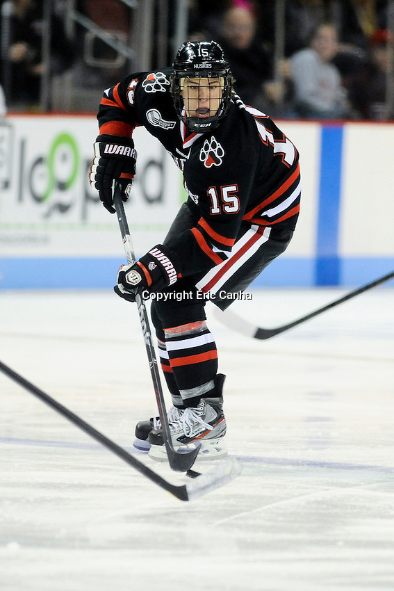Northeastern University Huskies forward Kevin Roy (15) during the Northeastern University at Boston University NCAA hockey match held at the Agganis Arena in Boston Massachusetts.   Eric Canha/CSM