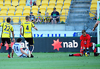 George Blackwood beats Lewis Italiano to score during the A-League football match between Wellington Phoenix and Adelaide United at Westpac Stadium in Wellington, New Zealand on Saturday, 27 January 2018. Photo: Dave Lintott / lintottphoto.co.nz