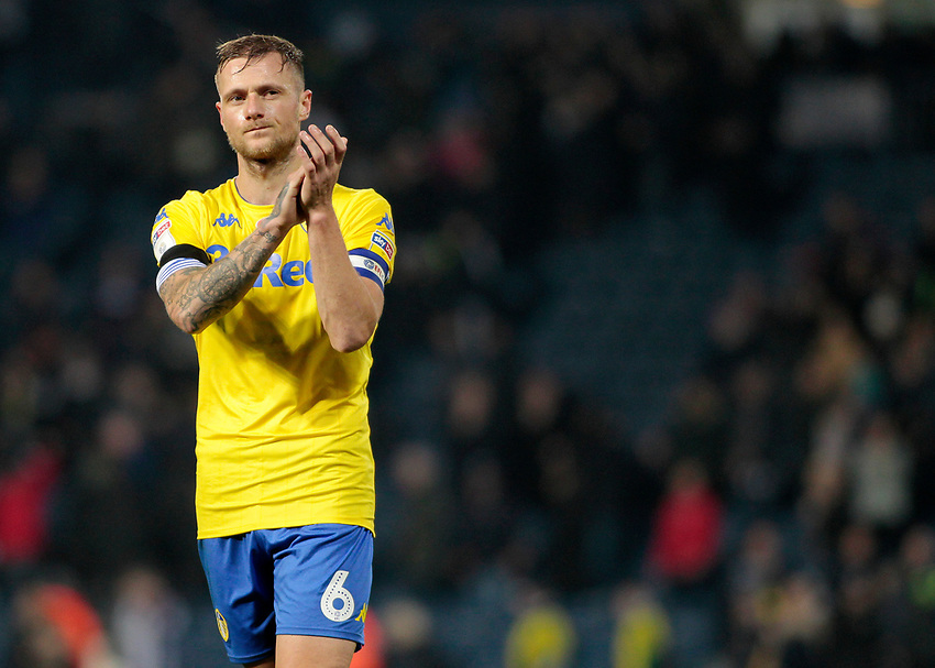 Leeds United's Liam Cooper applauds the fans at the final whistle <br /> <br /> Photographer David Shipman/CameraSport<br /> <br /> The EFL Sky Bet Championship - West Bromwich Albion v Leeds United - Saturday 10th November 2018 - The Hawthorns - West Bromwich<br /> <br /> World Copyright © 2018 CameraSport. All rights reserved. 43 Linden Ave. Countesthorpe. Leicester. England. LE8 5PG - Tel: +44 (0) 116 277 4147 - admin@camerasport.com - www.camerasport.com