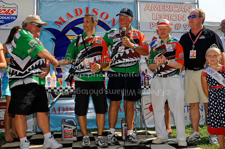 """(L to R): Crew chief Mike Hanson, Larry Oberto, Owner rep Bob Hughes, Art Oberto and manager Charlie Grooms. U-1 """"Oh Boy! Oberto"""""""