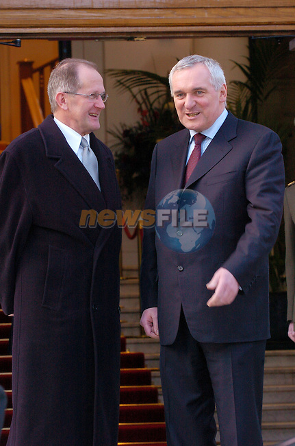 Dublin Ireland, (L) President of Switzerland, Mr. Joseph Deiss being welcomed by Irish Prime Minister and President of the EU Bertie Ahern before there meeting at Government Buildings Dublin Ireland. 16th February 2004..Photo AFP/NEWSFILE/FRAN CAFFREY..(Photo credit should read FRAN CAFFREY/NEWSFILE/AFP)...This Picture has been sent you under the condtions enclosed by:.Newsfile Ltd..the Studio,.Millmount Abbey,.Drogheda,.Co Meath..Ireland..Tel: +353(0)41-9871240.Fax: +353(0)41-9871260.GSM: +353(0)86-2500958.email: pictures@newsfile.ie.www.newsfile.ie.FTP: 193.120.102.198..This picture is from Fran Caffrey@newsfile.ie