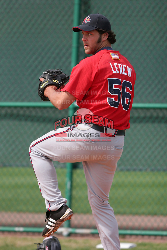Atlanta Braves minor leaguer Anthony Lerew during Spring Training at Disney's Wide World of Sports on March 14, 2007 in Orlando, Florida.  (Mike Janes/Four Seam Images)