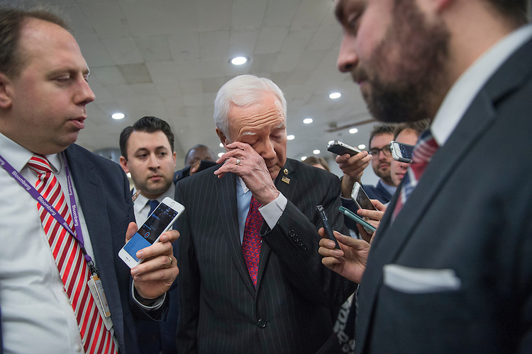 UNITED STATES - JANUARY 31: Senate Finance Committee Chairman Orrin Hatch, R-Utah, talks with reporters in the subway before the Senate Policy luncheons in the Capitol, January 31, 2017. (Photo By Tom Williams/CQ Roll Call)