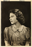 BNPS.co.uk (01202 558833)<br /> Pic: MarcusAdams/ChiswickAuctions/BNPS<br /> <br /> 1941 - Princess Elizabeth aged 15 in Buckingham Palace in the middle of WW2.<br /> <br /> Charming childhood photos of Princess Elizabeth and Princess Margaret have come to light, including a previously unseen image of the future Queen in a kilt.<br /> <br /> The portraits, taken by acclaimed British society photographer Marcus Adams, capture the future Queen from being a baby to her adolescence.<br /> <br /> The Queen Mother would often take her daughters to his central London studio where he would set up toys and props to keep them entertained
