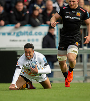 Wasps' Marcus Watson scores his sides third try<br /> <br /> Photographer Bob Bradford/CameraSport<br /> <br /> Gallagher Premiership - Exeter Chiefs v Wasps - Sunday 14th April 2019 - Sandy Park - Exeter<br /> <br /> World Copyright © 2019 CameraSport. All rights reserved. 43 Linden Ave. Countesthorpe. Leicester. England. LE8 5PG - Tel: +44 (0) 116 277 4147 - admin@camerasport.com - www.camerasport.com
