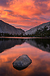 Sunset at Upper Pine Lake on the way to Pine Creek Pass during a backpacking trip in the High Sierra mountains outside of Bishop, CA, July, 2016.