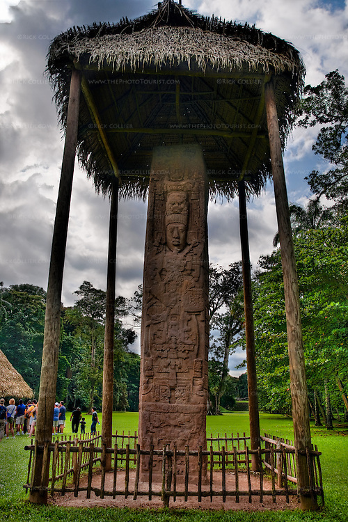 High-dynamic Range Image made on a bright day at Quirigua Archaeological Park in Guatemala.  Quirigua is one of the smaller Mayan sites, but also one of the most notable due to the artistry of its stelae, which Mayan rulers during the Classic Period commissioned to commemorate important political and dynastic events. Nowadays, the temples and palaces lie in ruins around the pleasant green park that once was the great plaza of Quirigua and archaeologists are only now piecing them back together.  Quirigua features a total of 22 carved stelae and zoomorphs (large boulders carved to represent animals and covered with figures and glyphs), which are among the finest examples of classic Mayan stone carvings. (This image was published in the July 2010 issue of Archaeology Magazine.)