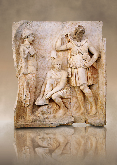 Photo of Roman relief sculpture, Aphrodisias, Turkey, Images of Roman art bas reliefs.  Meleager sits on a rock tying his sandal. Below him lies a fierce hunting dog with a wide collar. On one side a god or another hero wearing a rounded hat  crowning Meleager ( arm missing). On the other side stands the huntress Atalante, Meleager's lover: she wears a short dress and quiver,