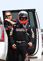 Apr 10, 2015; Las Vegas, NV, USA; NHRA top fuel driver Steve Torrence during qualifying for the Summitracing.com Nationals at The Strip at Las Vegas Motor Speedway. Mandatory Credit: Mark J. Rebilas-