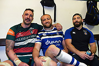 Will Spencer of Leicester Tigers and Tom Dunn and Jameson Mola of Bath Rugby pose for a photo in the changing rooms after the match. Gallagher Premiership match, between Leicester Tigers and Bath Rugby on May 18, 2019 at Welford Road in Leicester, England. Photo by: Patrick Khachfe / Onside Images