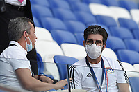 4th July 2020; Lyon, France; French League 1 friendly due to the Covid-19 pandemic forced league ending;   Juninho (lyon) in the stands wears a mask