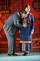 English National Opera presents LADY MACBETH OF MTSENSK, at the London Coliseum. Directed by Dmitri Tcherniakov. Picture shows: Robert Hayward (Boris Timofeyevich Ismailov), Patricia Racette (Katerina Lvovna Ismailova).