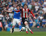 Lee Evans of Sheffield Utd brought down by Lukas Jutkiewicz of Birmingham City during the championship match at St Andrews Stadium, Birmingham. Picture date 21st April 2018. Picture credit should read: Simon Bellis/Sportimage
