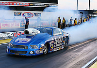 Aug 29, 2014; Clermont, IN, USA; NHRA pro stock driver Larry Morgan during qualifying for the US Nationals at Lucas Oil Raceway. Mandatory Credit: Mark J. Rebilas-USA TODAY Sports