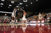 STANFORD, CA - JANUARY 2:  Kayla Pedersen of the Stanford Cardinal during Stanford's 79-58 win over the California Golden Bears on January 2, 2010 at Maples Pavilion in Stanford, California. Also pictured are Joslyn Tinkle, and Nnemkadi Ogwumike.