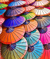 An array of colorful Asian umbrellas. (Photo by Matt Considine - Images of Asia Collection)