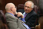 Nevada Assembly Republicans Randy Kirner, left, and Pat Hickey talk on the Assembly floor in the final hours of the session at the Legislative Building in Carson City, Nev., on Monday, June 1, 2015. <br /> Photo by Cathleen Allison