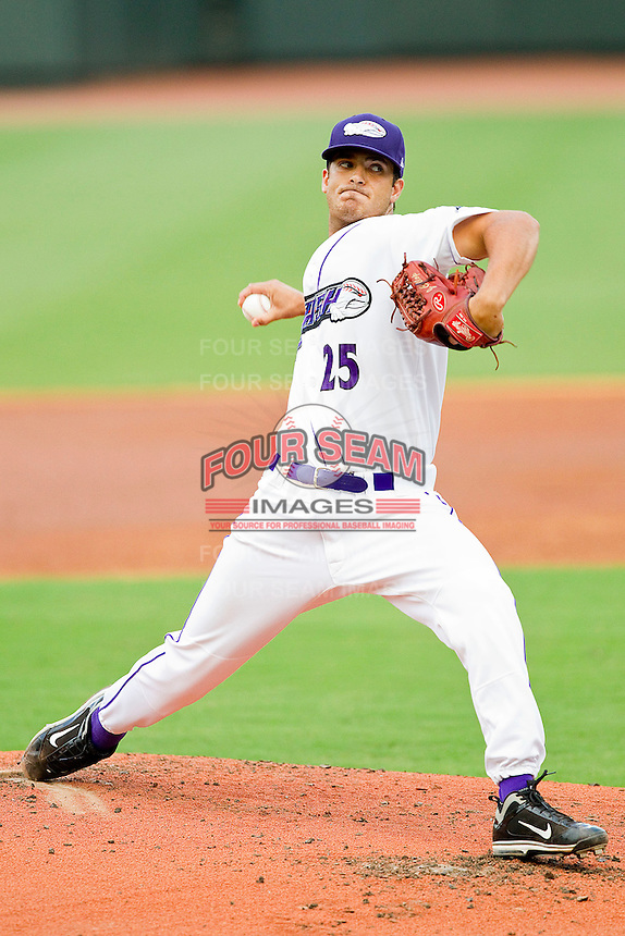 Pitcher Andre Rienzo #25 of the Winston-Salem Dash in action against the Lynchburg Hillcats at BB&T Ballpark on August 15, 2011 in Winston-Salem, North Carolina.  The Dash defeated the Hillcats 10-0 in the completion of a game suspended on June 28, 2011.   Brian Westerholt / Four Seam Images