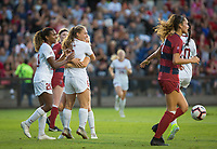 STANFORD, CA - August 30, 2019: Catarina Macario, Carly Malatskey at Maloney Field at Laird Q. Cagan Stadium. The Cardinal defeated the University of Pennsylvania Quakers 5-1.