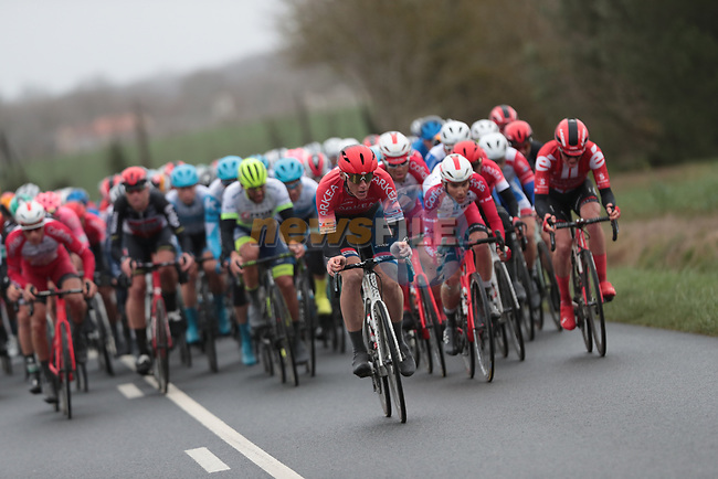 The peloton during a wet Stage 3 of the 78th edition of Paris-Nice 2020, running 212.5km from Chalette-sur-Loing to La Chatre, France. 10th March 2020.<br /> Picture: ASO/Fabien Boukla | Cyclefile<br /> All photos usage must carry mandatory copyright credit (© Cyclefile | ASO/Fabien Boukla)