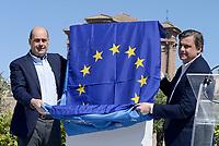 Roma, 30 Marzo 2019<br /> Nicola Zingaretti e Carlo Calenda.<br /> Il Partito Democratico presenta il simbolo per le elezioni europee del 26 Maggio