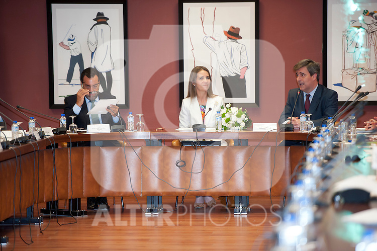 Infanta Elena of Spain during the general assembly of the Spanish Paralympic Committee with Mr. Miguel Cardenal Carro Honorary Vice-President (l) and Miguel Carballeda Pineiro President of Spanish Paralympic Committee (r)..(Alterphotos/Ricky)
