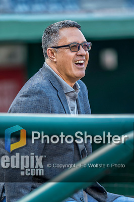 28 April 2017: New York Mets broadcaster and former Met pitcher Ron Darling watches batting practice from the dugout prior to a game against the Washington Nationals at Nationals Park in Washington, DC. The Mets defeated the Nationals 7-5 to take the first game of their 3-game weekend series. Mandatory Credit: Ed Wolfstein Photo *** RAW (NEF) Image File Available ***