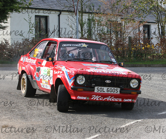 Fabian McAleer - Steven Monaghan in a Ford Escort at Junction 13 on Special Stage 11 Bulls Brook on the Discover Northern Ireland Circuit of Ireland Rally which was a constituent round of  the FIA European Rally Championship, the FIA Junior European Rally Championship, the Clonakilty Irish Tarmac Rally Championship, and the MSA ANICC Northern Ireland Stage Rally Championships which took place on 18.4.14 and 19.4.14 and was based in Belfast.