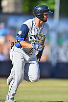 Columbia Fireflies Chase Chambers (8) runs to first base during a game against the Asheville Tourists at McCormick Field on June 22, 2019 in Asheville, North Carolina. The Tourists defeated the Fireflies 6-5. (Tony Farlow/Four Seam Images)