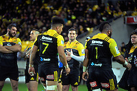 Ardie Savea and Loni Uhila are substituted during the Super Rugby semifinal match between the Hurricanes and Chiefs at Westpac Stadium, Wellington, New Zealand on Saturday, 30 July 2016. Photo: Dave Lintott / lintottphoto.co.nz