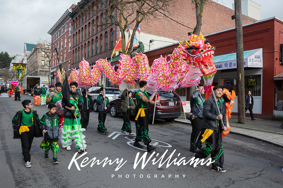 Dragon Dance, Mak Fai Kung Fu Club, Chinese New Year Celebration, Chinatown, Seattle, WA, USA.