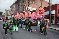 Dragon Dance, Mak Fai Kung Fu Club, Chinese New Year Celebration, Chinatown, Seattle, WA, USA.