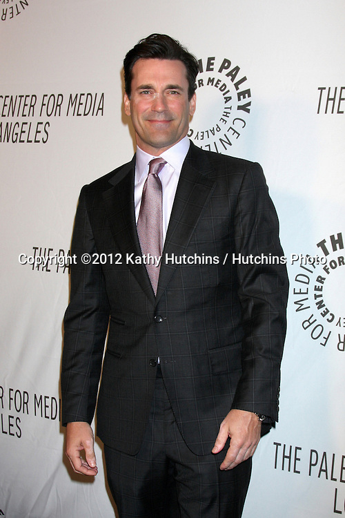 LOS ANGELES - OCT 22:  Jon Hamm arrives at  the Paley Center for Media Annual Los Angeles Benefit at The Lot on October 22, 2012 in Los Angeles, CA