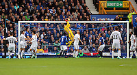 Liverpool, UK. Saturday 01 November 2014<br /> Pictured: Lukasz Fabianski goalkeeper for Swansea catches the ball (C)<br /> Re: Premier League Everton v Swansea City FC at Goodison Park, Liverpool, Merseyside, UK.