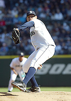 04 October 2009: Seattle Mariners starting pitcher Felix Hernandez fires the ball to the plate against the Texas Rangers. Hernandez won his 19th game of the year.  Seattle won 4-3 over the Texas Rangers at Safeco Field in Seattle, Washington.