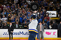 June 12, 2019: St. Louis Blues right wing Vladimir Tarasenko (91) hoists the Stanley Cup at game 7 of the NHL Stanley Cup Finals between the St Louis Blues and the Boston Bruins held at TD Garden, in Boston, Mass. The Saint Louis Blues defeat the Boston Bruins 4-1 in game 7 to win the 2019 Stanley Cup Championship.  Eric Canha/CSM