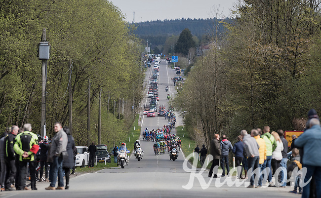 peloton cruising through the Ardennes<br /> <br /> 103rd Li&egrave;ge-Bastogne-Li&egrave;ge 2017 (1.UWT)<br /> One Day Race: Li&egrave;ge &rsaquo; Ans (258km)