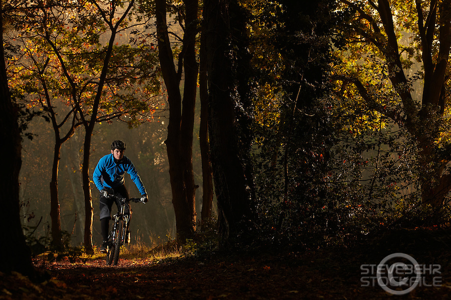 Sam Behr  riding Marin mountain bike , Surrey  , November 2011 pic copyright Steve Behr / Stockfile