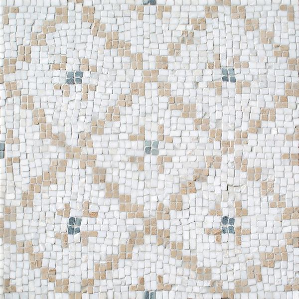 Lucia, a hand-cut stone mosaic, shown in tumbled Cloud Nine, Jura Beige, and Kay's Green, was designed by Paul Schatz as part of the Legend collection by New Ravenna.