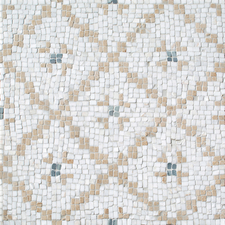 Lucia, a hand-cut stone mosaic, shown in tumbled Cloud Nine, Jura Beige, and Kay's Green, is designed by Paul Schatz as part of the Legend™ collection by New Ravenna.