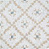 Lucia, a hand-cut stone mosaic, shown in tumbled Cloud Nine, Jura Beige, and Kay's Green, is part of the Legend® Collection by New Ravenna.